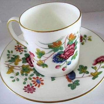 Wedgwood Cup and Saucer, Cuckoo Pattern,  Bone China England, Vintage Bird and  Floral
