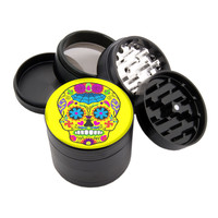 "Colorful Yellow Sugar Skull - 2.25"" Premium Black Herb Grinder - Custom Designed"