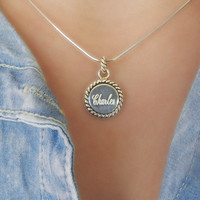Sterling Silver Boyfriend Necklace, Engrave Necklace, Personalize Name Necklace, Tiny Silver Necklace, Charm Necklace, Bridesmaid Gift