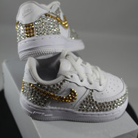 Custom Bling Air Force Ones- Bling Tennis Shoes- Bling & Pearls- Baby Bling Nikes- AF1s- Custom Tennis Shoes- Bedazzled Nikes- Bling Shoes