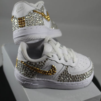 Custom Bling Air Force Ones- Bling Tennis Shoes- Bling   Pearls- Baby Bling 792b190ca2