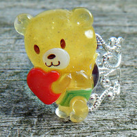 Kawaii Cute Yummy Teddy Bear With Heart  Ring. Silver adjustable filigree ring. For adults and children
