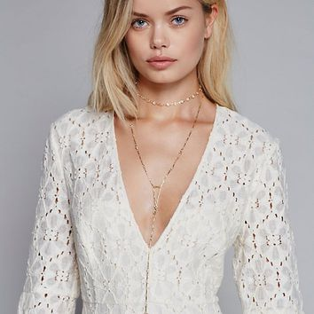 Free People Delicate Opal Rosary Necklace