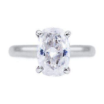 Skinny Cushion First Crush FAB Moissanite 4 Prongs FANCY Solitaire Ring