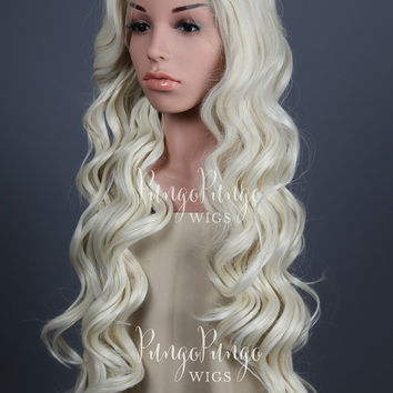 White Blonde Wig /Long Curly Lace Front Wig/ Renaissance Daenerys Khaleesi Game of Thrones Warcraft Costume Cosplay Large /Princess Series