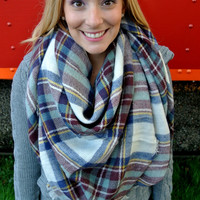 Plaid Blanket Scarf - Navy