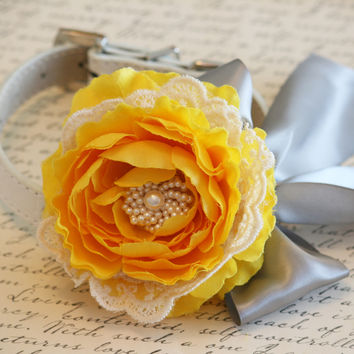 Yellow Peonies and Gray Floral Dog Collar Victorian Wedding, Lace and pearl pet wedding