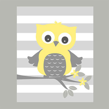 Nursery Wall Print Owl on Tree Branch, Baby Nursery Art, CUSTOMIZE YOUR COLORS, 8x10 Prints, nursery decor nursery print art baby room decor