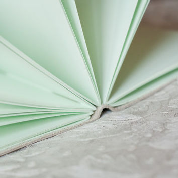 Mint Green Pages Leather Wrap Journal - Handbound Leather Blank Book - 6 x 4 - Custom - Pastel Colour