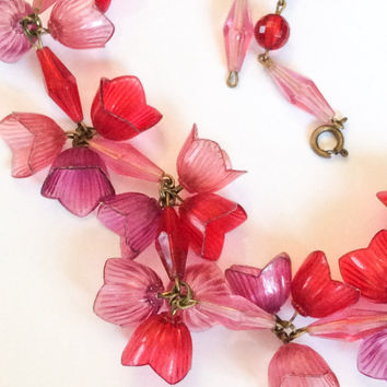 Celluloid Necklace Deep Pink Red Flower Necklace Early Plastic Vintage Jewelry