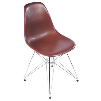 Eames Style Side Chair, Brown with Metal Base
