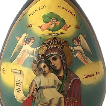 Russian Lacquer Egg~Madonna & Child~Hand Decorated Black Lacquer Wooden Egg~Religious Icon Art~ Russian Folk Art~Hand Painted Madonna~Cross