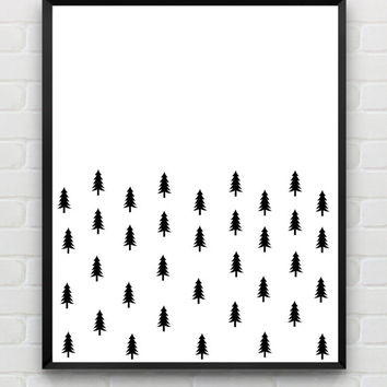 Instant Printable Abstract Woodland Wall Art Scandinavian Black And White Nursery Print