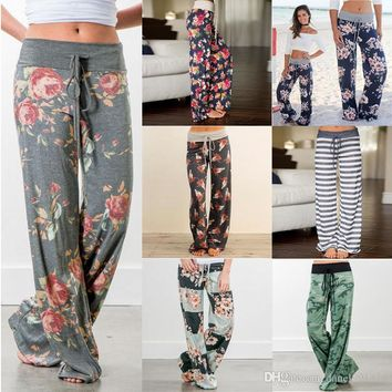 2018 fashion summer flower style Women Casual trousers harem pants Fashion loose strap camo print pants