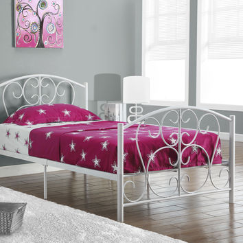 White Metal Twin Size Bed Frame Only