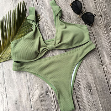 Army Green Bikini Swimsuit Bow Women White Bikini set