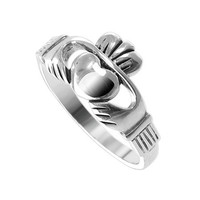 925 Sterling Silver Polished Finish 10mm Claddagh Heart Ring