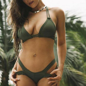 Solid Color Sexy Hollow Out Halter Bikini Swimsuit Swimwear