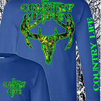 Country Life Outfitters Royal & Green Camo Realtree Deer Skull Head Hunt Vintage Unisex Long Sleeve Bright T Shirt