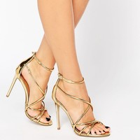 Office Spindle Gold Metallic Strappy Heeled Sandals