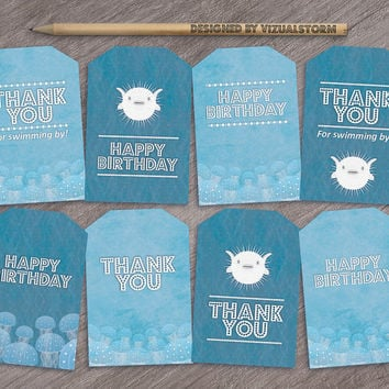 Printable Fish Party Favor Tags, Under The Sea Thank You Tags, Happy Birthday Gift Tag, Fish Birthday Party Favors, Birthday Party Gift Tags