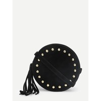 Studded Detail Round PU Crossbody Bag