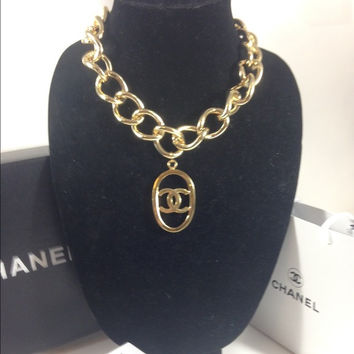 Thick Gold Necklace W Chanel Charm (Handmade)