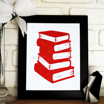 Book Stack Block Print 8x10 inch Red and White by CursiveArts