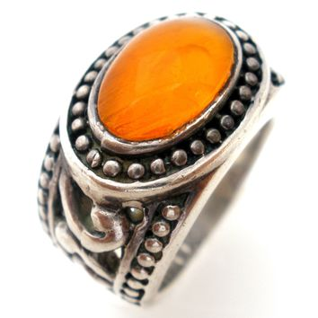 Mexican Fire Opal Sterling Silver Ring Size 7