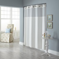 Hookless Fabric Shower Curtain with Built in Liner, White Diamond Pique