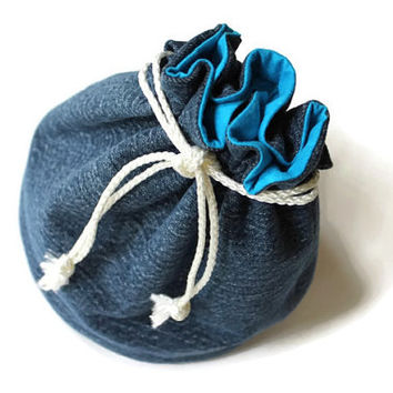 Bright Blue & Denim Bucket Bag Upcycled Blue Jeans Summer Travel Tote Makeup Bag- US Shipping Included