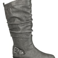 Gray Valerie Slouch Boot With Buckle - Gray