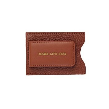 Genuine Leather Money Clip Card Case in Brown or Black