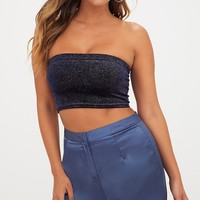 Navy Sparkle Velvet Bandeau Crop Top