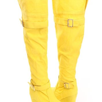 Mustard Print Thigh High Wedge Boots Faux Suede