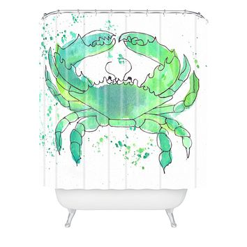 Laura Trevey Seafoam Green Crab Shower Curtain