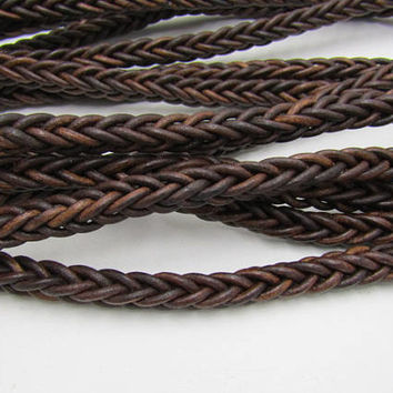 Leather braided square cord.... 5 yards of Antique brown,  575