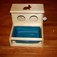 Bunny Rabbit Hay Feeder With Built in Litter Box-Wide Model