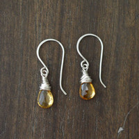 Citrine Earrings Sterling Silver, November Birthstone Jewelry, Push Present, Wire Wrapped Gemstone Briolette Dangle