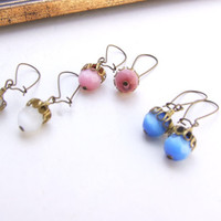Glass Crystal Stone Beads Dangle Earrings, Blue earrings, Pink Beads earrings, White Beaded Earrings. 3 pairs.