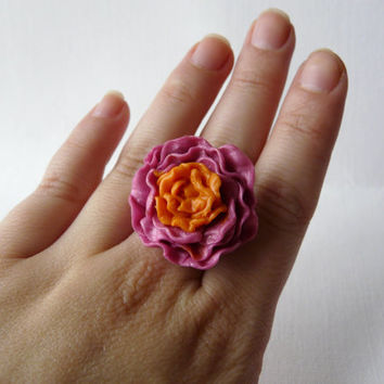 Flower Adjustable Ring, Pink Statement Ring, Flower Ring Jewelry, Pink Cocktail Ring, Mothers Day Ring