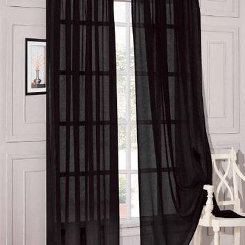 "2 Piece Solid Black Sheer Window Curtains/drape/panels/treatment 54""w X 84"""