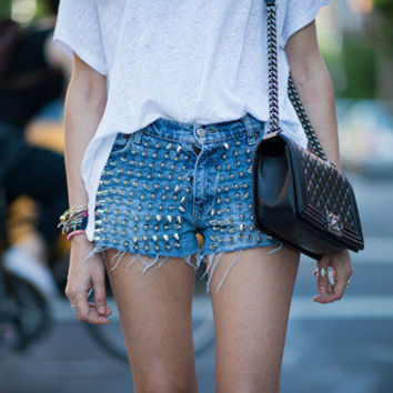 Spikes High waisted Denim Shorts