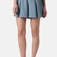 Topshop Moto Pleated Denim Skort