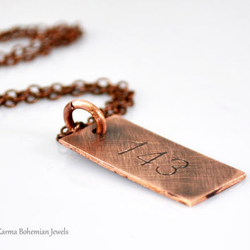 Engraved Copper Tag Necklace.Personalized Vertical Copper Necklace. 143 Unisex Tag. I Love You Tag.Hand stamped.Long Copper Tag Necklace