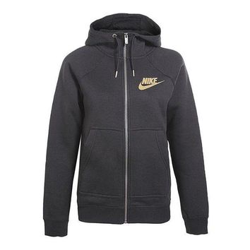 PEAP2Q nike fashion women zip up hoodie jacket sweater gold logo
