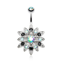 Radiant Chrysanthemum Flower Belly Button Ring (Aqua/Aurora Borealis)