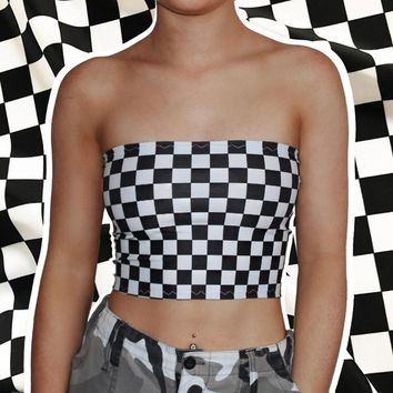 Sexy strapless exposed umbilical chessboard cell short skirts  171117
