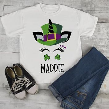 Toddler Girl's Personalized Unicorn T Shirt St. Patrick's Day Custom Shirts Graphic Tee