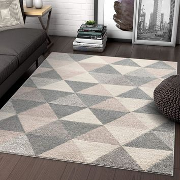 2901 Gray Geometric Design Contemporary Area Rugs